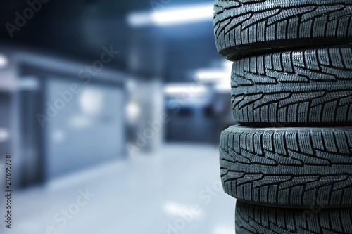 Leinwanddruck Bild Tires objects on background