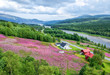 Summer aerial panorama landscape of Duved valley in Sweden