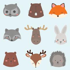 set of cute woodland animals face.