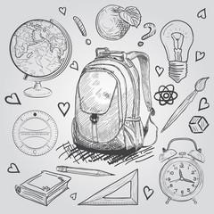 Education items. Hand Drawn Doodle school supplies Vector Set.