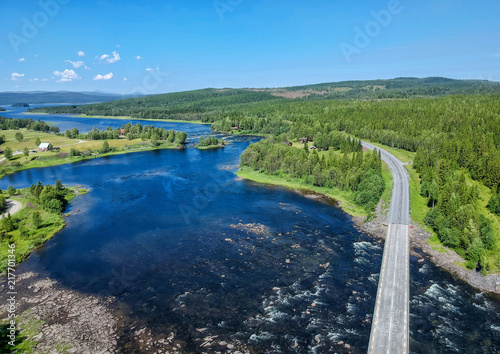 In de dag Bergrivier Aerial view over Swedish mountain river
