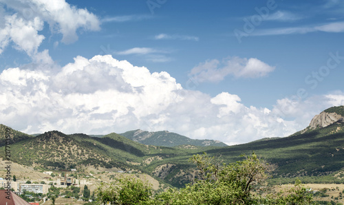 Beautiful sky above mountain landscape of crimea valley. St George mountain top - 217703509