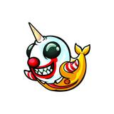 Super Narwhal Mascot Design Vector
