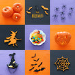 Leinwanddruck Bild - Halloween holiday collage top view. Pumpkins, spiders, witch, bats, treats.