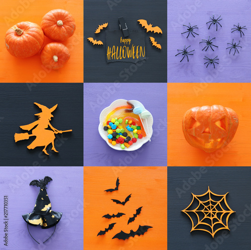 Leinwanddruck Bild Halloween holiday collage top view. Pumpkins, spiders, witch, bats, treats.