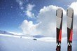 Pair of Black Skis on winter background
