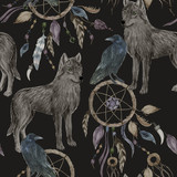 Watercolor painting seamless pattern with wolf and raven, dreamcatcher
