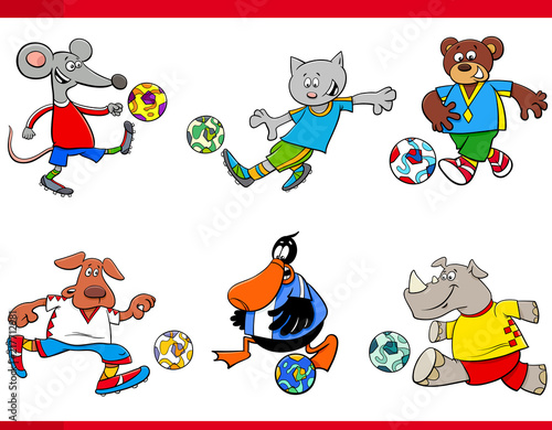 Fototapeta animal football players cartoon characters