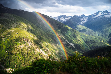 Rainbow in the mountain valley after rain. Grimselpass, Switzerland