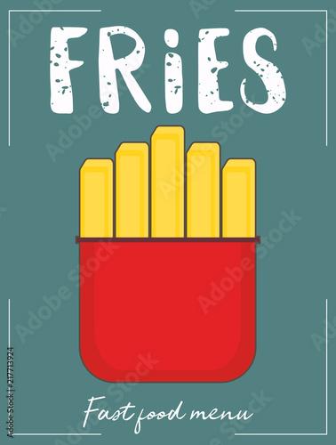 In de dag Vintage Poster French fry stick potato