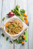 butterfly pasta with mixed vegetables - 217714727