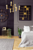 Plant next to bed in grey bedroom interior with chandelier, black poster and clock. Real photo - 217715384