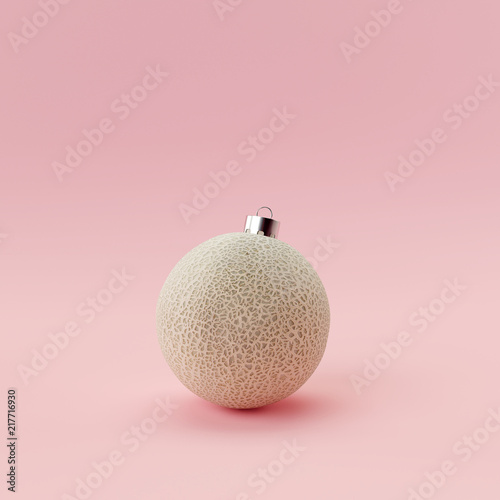 Melon ball christmas on pastel pink background. Creative idea minimal concept. © aanbetta