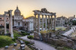 Quadro Sunrise over Rome. There are ancient ruins in foreground