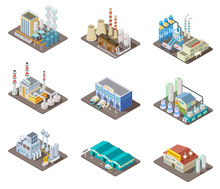 Isometric Factory Set 3d Industrial Buildings Power Plant And Warehouse    Sticker