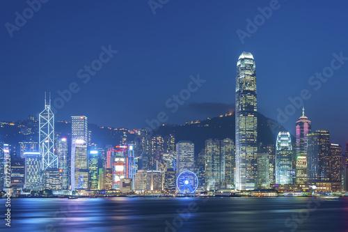Panorama Wiktoria schronienie Hong Kong miasto przy półmrokiem