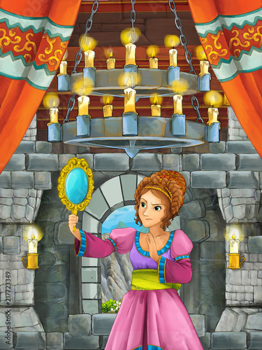 cartoon scene with beautiful girl - princess in castle room - illustration for children - 217723349
