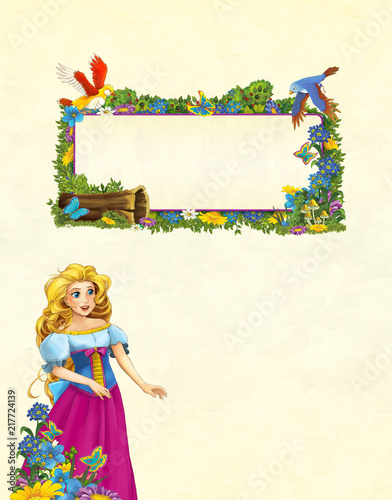 cartoon scene with floral frame - beautiful girl - princess - title page with space for text - illustration for children  - 217724139