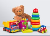 Toys collection isolated on light background