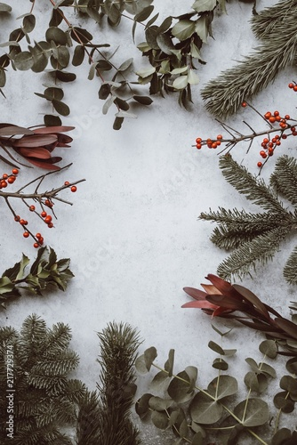 Foto Murales Festive holiday foliage flatlay background