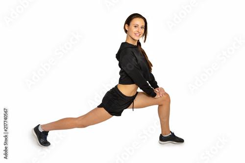 Leinwanddruck Bild sporty girl smiling