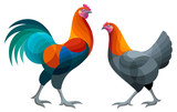 Stylized Chickens - Brugse Vechter Rooster and Hen