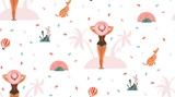 Hand drawn vector abstract graphic cartoon summer time flat illustrations seamless patterns with girl and dog on the summer beach isolated on pink pastel background - 217741593