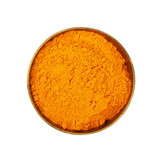 One bronze metal bowl full of yellow turmeric powder - 217745302