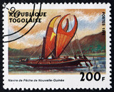 Postage stamp Togo 1999 New Guinea Fishing Boat