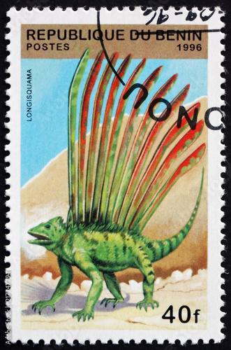 Postage stamp Benin 1996 Longisquama, Prehistoric Animal