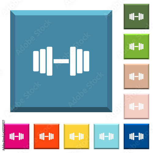 Poster Gym white icons on edged square buttons