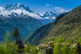 Snowcapped mountain peaks of the French Alps in Europe
