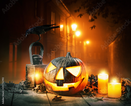 Scary horror background with halloween pumpkin jack o lantern