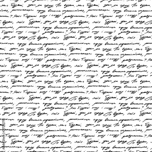 Handwriting background seamless pattern grunge letters words - 217752791