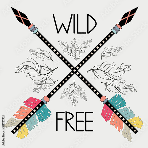 beautiful-hand-drawn-illustration-with-crossed-ethnic-arrows-feathers-boho-and-hippie-style-american-indian-motifs-wild-and-free-poster