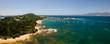 Quadro Fonds marin et vue aérienne autour de la presqu'île de l'Isolella dans le Golfe d'Ajaccio en Corse du Sud