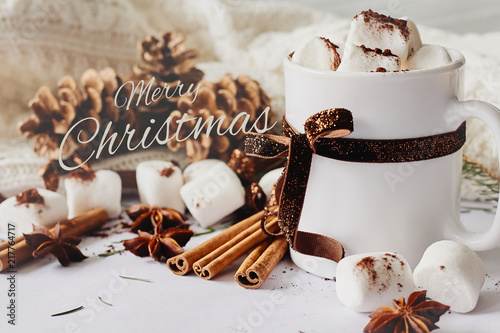 Leinwandbild Motiv Winter Christmas New Year hot warming drink. Cup of hot chocolate or cocoa with marshmallow, fir cones, star anise, cinnamon on white knitted background
