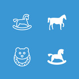Collection of 4 horse filled and outline icons