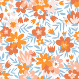 Trendy seamless floral ditsy pattern. Fabric design with simple flowers. Vector cute repeated pattern for baby fabric, wallpaper or wrap paper. - 217766357