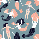 Cute hand-drawn seamless pattern with mermaids and swimming girls. Magic endless design for fabric, wrap paper or wallpaper. - 217766707