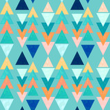 Seamless Pattern of Blue and Orange Triangles - 217767368