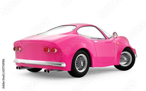 retro sport car cartoon 3d pink back - 217769186