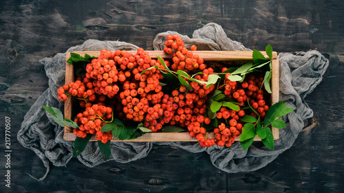 Foto Murales Red ashberry with leaves on a black wooden background. Top view. Free space for your text.