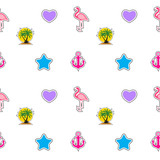 Seamless pattern with anchor, heart, flamingo and coconut palm tree island. Tropical wallpaper background. Vector Illustration