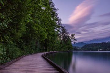 Slovenian landscape. Bled lake in Slovenia. Famous place.