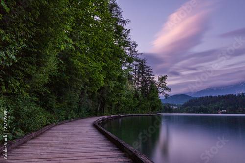Foto Murales Slovenian landscape. Bled lake in Slovenia. Famous place.