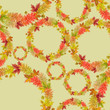 Autumn Leaves Wreaths Seamless Pattern on Yellow Background. Great for Print, Background, Wrapping Paper, and Textile. - 217780165