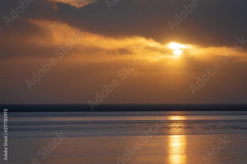 Canvas Zee zonsondergang Sonnenuntergang am Meer