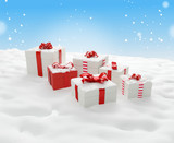 christmas gift boxes 3d-illustration