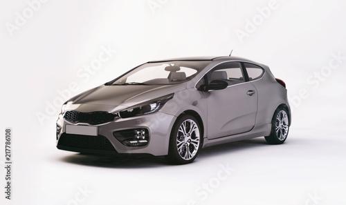 modern metallic gray city car - 3D rendering - 217786108